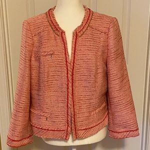 WHBM PINK/GOLD TWEED JACKET SIZE 16